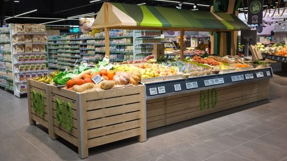 Mobilier rayon fruits et légumes bio